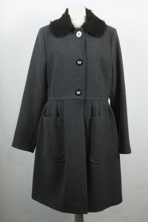 Simply Urban Couture Mantel Wollmantel Gr. 42 grau schwarz Fake Fur