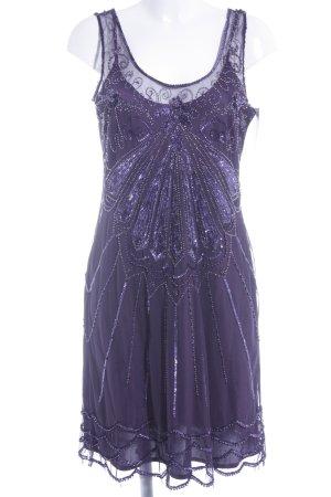 Sinéquanone Abito con paillettes viola scuro motivo floreale elegante