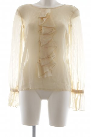 Sinéquanone Ruffled Blouse pale yellow striped pattern business style
