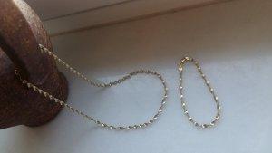 Singapurkette und Armband 925er Silber Bicolour