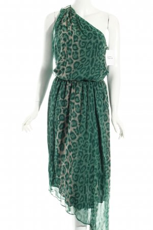 single dress One-Shoulder-Kleid grün-creme Animalmuster Animal-Look