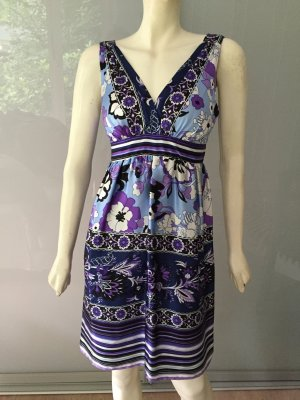 Single Dress Sommer-Kleid Blau Lila Weiß Seide 38-40 Empire Silk Blue Purple L