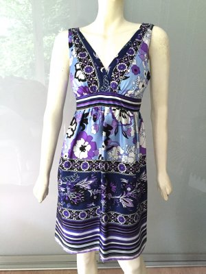 Single Dress Sommer-Kleid Blau Lila Weiß Seide 38-40 Empire Silk Blue Purple M- L