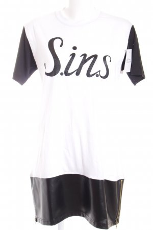 Sins Shirtkleid weiß-schwarz Schriftzug gedruckt Urban-Look