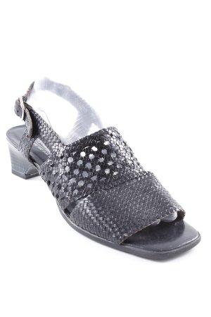 Sioux Heel Pantolettes black weave pattern casual look