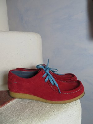 SIOUX Rot Blau Leder Grashoppers Gr. 4,5 37 Naturlatex Mokassins