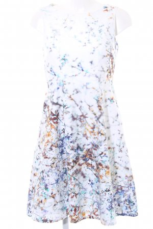 Sir Oliver Kurzarmkleid camel-stahlblau florales Muster Romantik-Look