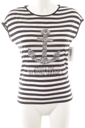 Sir Oliver T-Shirt dunkelblau-weiß Motivdruck Casual-Look