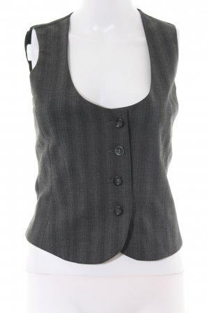 Sisley Waistcoat black-light grey striped pattern business style
