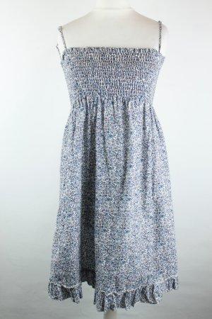 Sisley Babydoll Kleid Midiklid Stretchkleid Gr. XS blau weiß Blumen