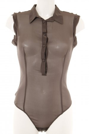Sisley Blusa tipo body marrón grisáceo elegante