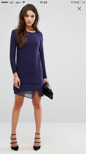 Sisley by asos lagenkleid lila dunkelblau XS neu mit etikett mesh hochgeschlossen langärmelig pulloverkleid