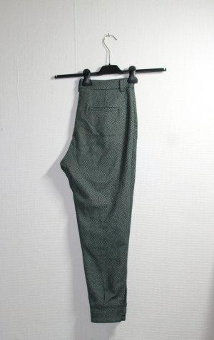 Sisley Checked Pants Stoffhose grün weiß kariert Gr. 36