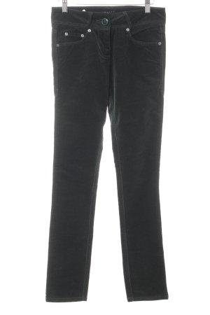 Sisley Pantalone di velluto a coste verde scuro stile casual