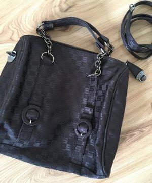 Sisley Damen Tasche Business Bag Schwarz Schultertasche Canvas Monogram Handtasche Kettenhenkel
