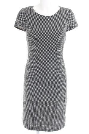 Sisley Etuikleid weiß-schwarz Punktemuster Casual-Look
