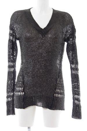 Sisley Häkelpullover schwarz Zopfmuster Casual-Look