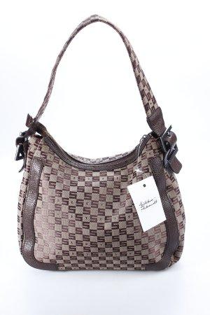 Sisley Handtasche beige-dunkelbraun Monogram-Muster Casual-Look