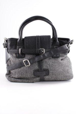 Sisley Handtasche schwarz-weiß Fischgrätmuster Casual-Look