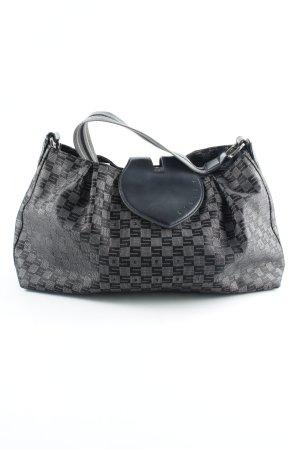 Sisley Henkeltasche schwarz-silberfarben abstraktes Muster 90ies-Stil