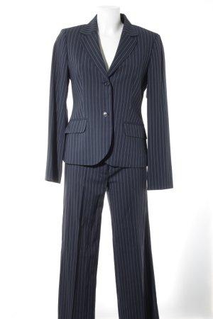 Sisley Hosenanzug graublau-weiß Streifenmuster Business-Look