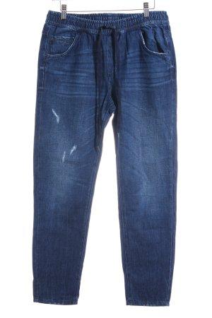 Sisley Hüftjeans dunkelblau Used-Optik