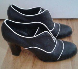 Sisley Veterschoenen zwart-wit Leer