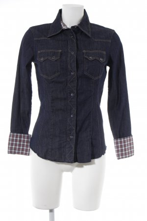 Sisley Camicia denim blu scuro stile casual