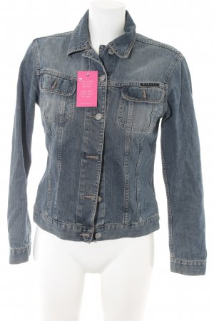 Sisley Jeansjacke blau Washed-Optik