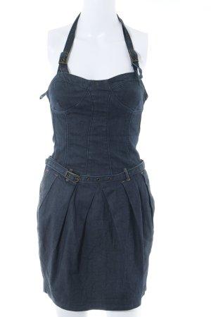 Sisley Jeanskleid dunkelblau meliert Country-Look