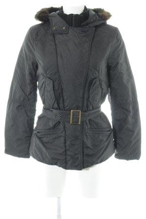Sisley Kapuzenjacke schwarz-dunkelbraun Steppmuster Business-Look