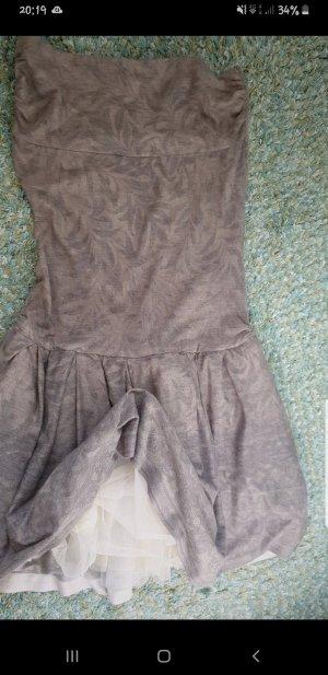 Sisley Vestido strapless gris verdoso