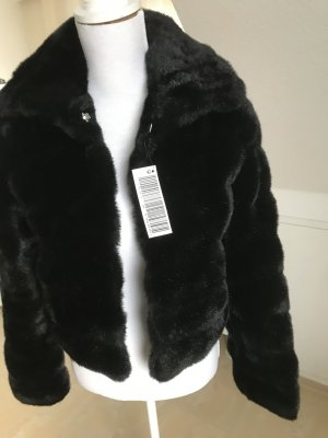Sisley Fake Fur Jacket black fake fur
