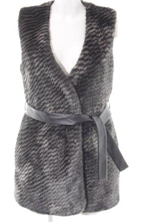 Sisley Kunstfellweste schwarz-khaki Streifenmuster Casual-Look
