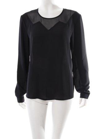 Sisley Langarm-Bluse schwarz Transparenz-Optik