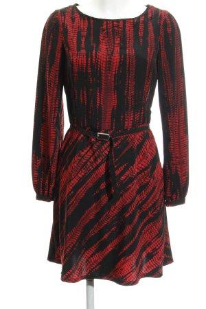 Sisley Langarmkleid schwarz-rot abstrakter Druck Casual-Look
