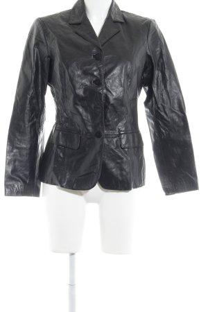 Sisley Leder-Blazer schwarz Casual-Look