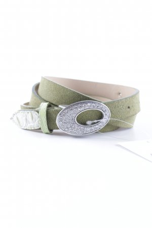Sisley Leather Belt silver-colored-grass green extravagant style