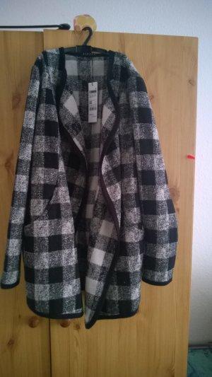 Sisley, leichter Mantel, schwarz weiß kariert, Schachmuster
