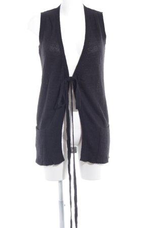 Sisley Gilet long tricoté noir style décontracté