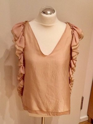 Sisley: Raffinierte Bluse Top in Rosé mit Volant Seide Gr. M NEU