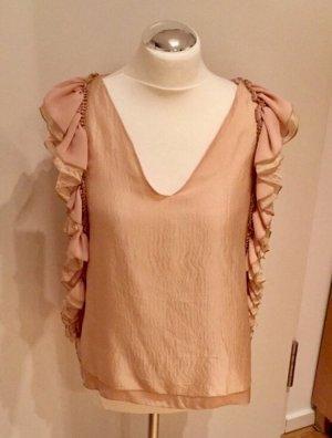 Sisley T-shirt col en V rose chair-rosé