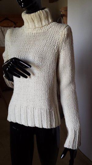 Sisley Jersey de cuello alto blanco puro-marrón arena Lana