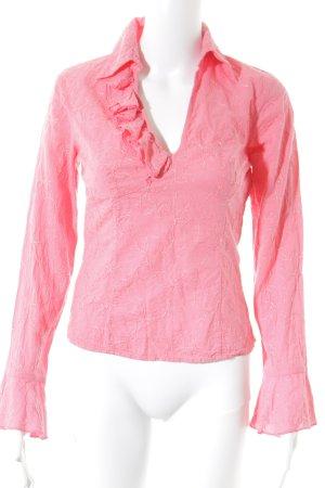 Sisley Ruche blouse roze-zalm bloemen patroon romantische stijl