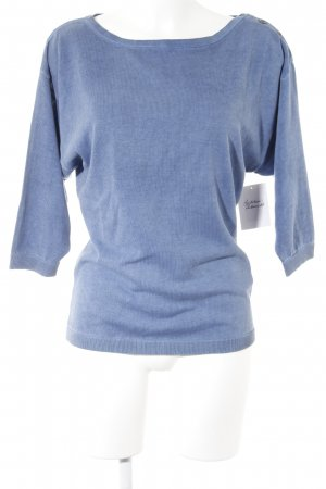 Sisley Rundhalspullover blau Casual-Look