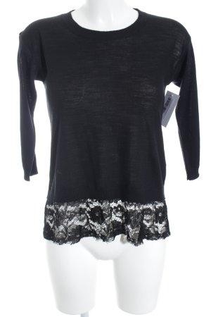 Sisley Rundhalspullover schwarz Casual-Look