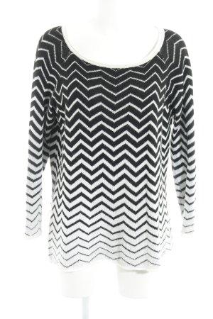 Sisley Rundhalspullover schwarz-weiß abstraktes Muster Casual-Look