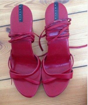 Sisley Sandaletten Holz Wood Leder Clogs style Sandalen 41 rot Plateau high heels