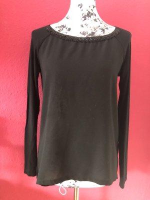 Sisley schwarzes Langarmshirt mit Schmucksteinen