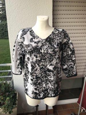 Sisley shirt Bluse gr S schwarz weiß Blumen Muster